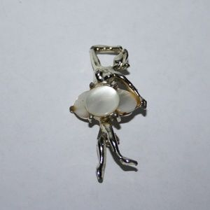 Vintage gold and shell ballerina brooch